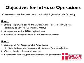 Objectives for Intro. to Operations