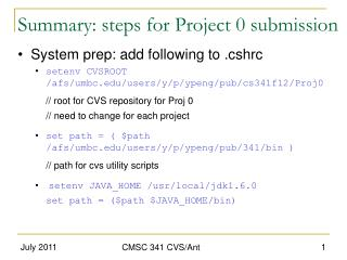 Summary: steps for Project 0 submission