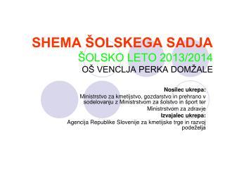 SHEMA ŠOLSKEGA SADJA ŠOLSKO LETO 2013/2014 OŠ VENCLJA PERKA DOMŽALE