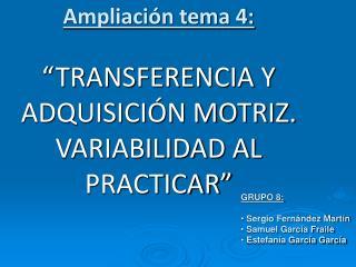 """Ampliación tema 4:  """"TRANSFERENCIA Y ADQUISICIÓN MOTRIZ. VARIABILIDAD AL PRACTICAR"""""""