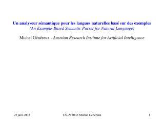 Michel Généreux  - Austrian Research Institute for Artificial Intelligence