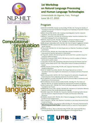 1st Workshop  on Natural Language Processing  and Human Language Technologies