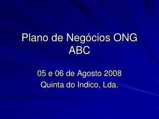 Plano de Negócios ONG ABC