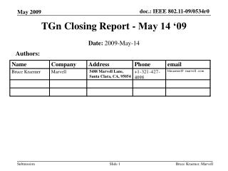 TGn Closing Report - May 14 '09