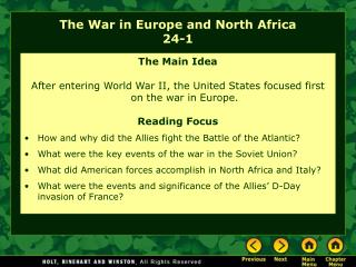 The War in Europe and North Africa 24-1
