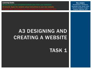 A3 designing and creating a website task 1