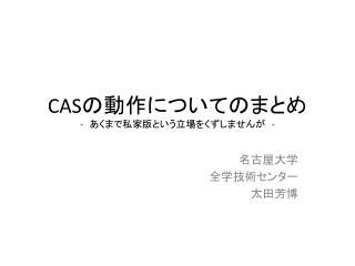 CAS の動作について のまとめ -  あくまで私家版という立場をくずしませんが  -