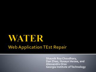 WATER Web Application  TEst  Repair