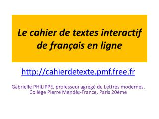 Le cahier de textes interactif de fran ais en ligne