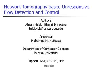 Network Tomography based Unresponsive Flow Detection and Control