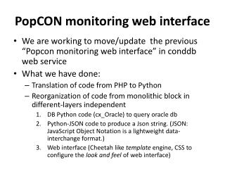 PopCON  monitoring web interface