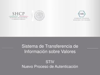 Sistema de Transferencia de Información sobre Valores STIV Nuevo Proceso de Autenticación