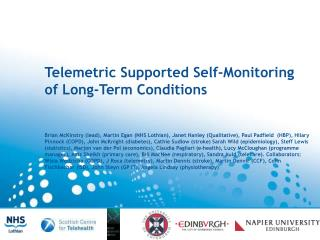 Brief exploration of the background to Telehealth Overview of our research programme