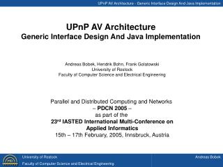 UPnP AV Architecture - Generic Interface Design And Java Implementation