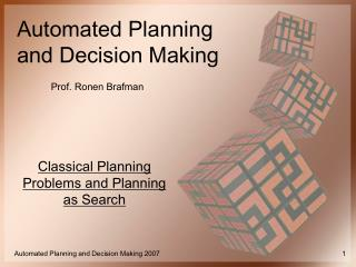 Classical Planning Problems and Planning as Search