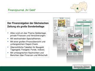 """Finanzjournal """"Ihr Geld"""""""