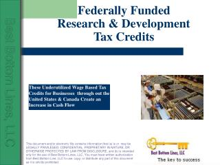 Federally Funded Research & Development    Tax Credits