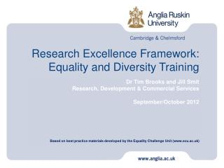 Research Excellence Framework: Equality and Diversity Training