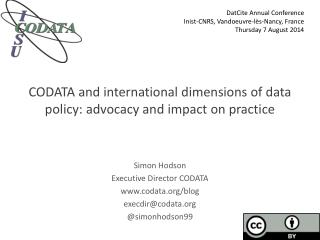 CODATA and international dimensions of data policy: advocacy and impact on practice