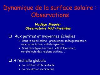 Dynamique de la surface solaire : Observations
