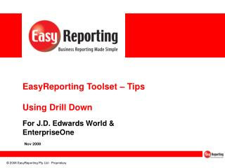 EasyReporting Toolset – Tips Using Drill Down