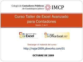 Curso Taller de Excel Avanzado para Contadores Sesión  2  de 3