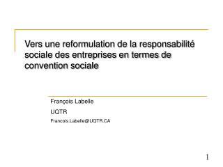 Vers une reformulation de la responsabilit  sociale des entreprises en termes de convention sociale