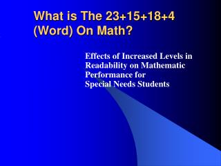 What is The 23+15+18+4 (Word) On Math?