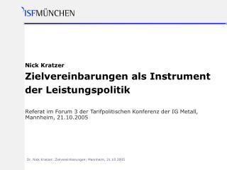 Nick Kratzer Zielvereinbarungen als Instrument der Leistungspolitik