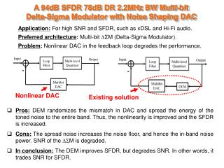 A 94dB SFDR 78dB DR 2.2MHz BW Multi-bit  Delta-Sigma Modulator with Noise Shaping DAC