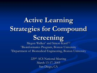 Active Learning Strategies for Compound Screening