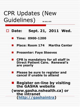 CPR Updates (New Guidelines) SE-2011-070