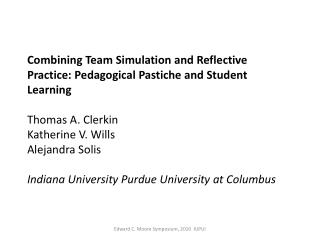 Combining Team Simulation and Reflective Practice: Pedagogical Pastiche and Student Learning