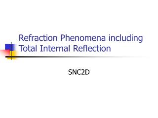 Refraction Phenomena including Total Internal Reflection