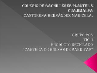 Colegio de Bachilleres Plantel 8 Cuajimalpa Castorena Hernández Maricela. GRUPO:208 TIC II