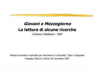 Giovani e Mezzogiorno La lettura di alcune ricerche Cristiano Caltabiano - IREF