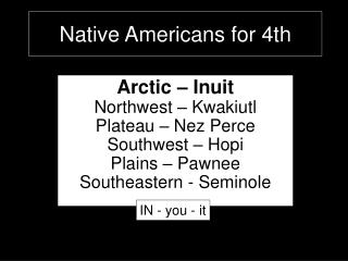 Native Americans for 4th