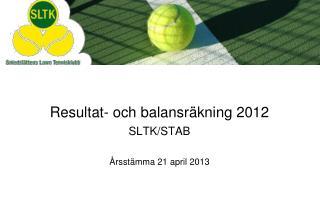 Resultat- och balansräkning 2012 SLTK/STAB
