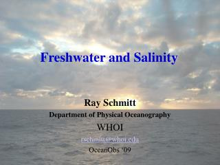 Freshwater and Salinity