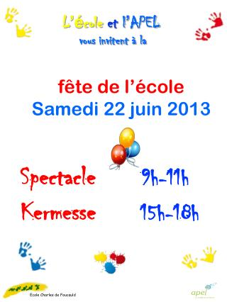 Spectacle       9h-11h Kermesse 15h-18h