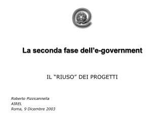 La seconda fase dell�e-government