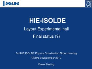 Layout Experimental hall Final status (?)