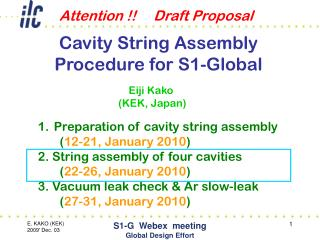 Cavity String Assembly Procedure for S1-Global