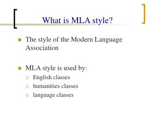 What is MLA style?