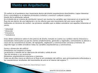 Viento en Arquitectura.