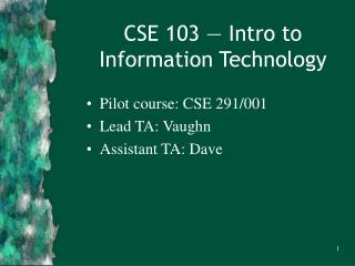 CSE 103 — Intro to Information Technology