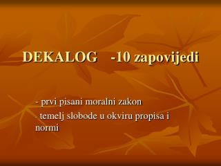 DEKALOG-10 zapovijedi
