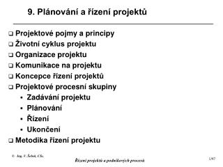 9. Plánování a řízení projektů