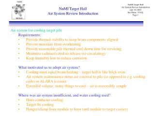 NuMI Target Hall Air System Review Introduction