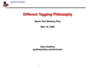 Different Tagging Philosophy Beam Test Meeting Pisa May 16, 2006 Gary Godfrey